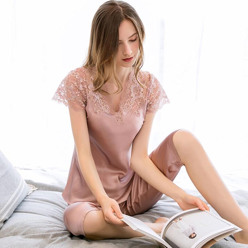 Женская пижама из 100% натурального шелка, пижама с кружевом, ночная рубашка из чистого шелка, комплект из 2 предметов, 2019