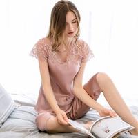 2 шт., женская пижама из 100% натурального шелка Pajamas2019, Сексуальная кружевная Пижама, пижамы для сна, пижамы для сна, пижамы из чистого шелка