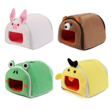 Winter Warm Cartoon Hamster House Bed Folding Cute Pet Rabbit Hamster Cages For Rat Squirrel Guinea Pig Nest m004a cute lovely 2 floor pet house w slide runner waterer for hamster multicolored