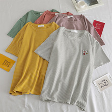 2019 Summer Womens T-Shirt Korean Fashion Casual Stripes Cartoon Cute Pig Embroidery Women Tees Loose O-Neck Short Tops New 90s