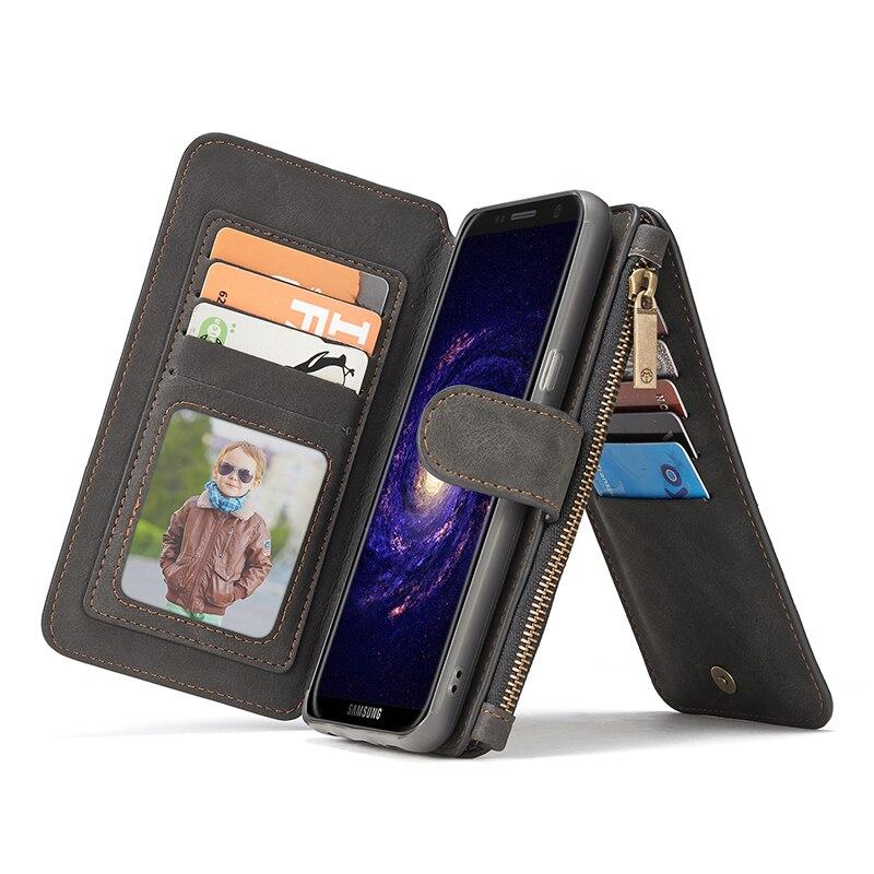 Caseme lujo 14 case cuero de la tarjeta slots para samsung galaxy s8/accesorios