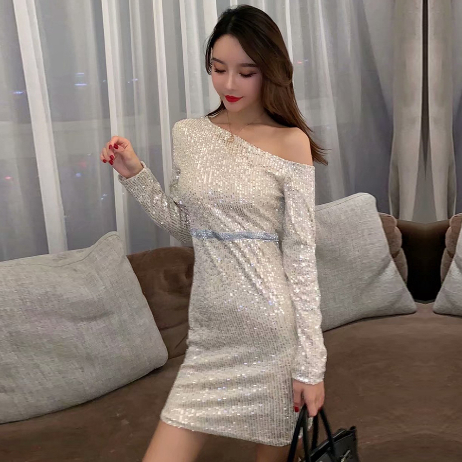 ADYCE 2019 New Summer Women Celebrity Evening Party Dress Sexy One Shoulder Sequin Slash Neck Mini