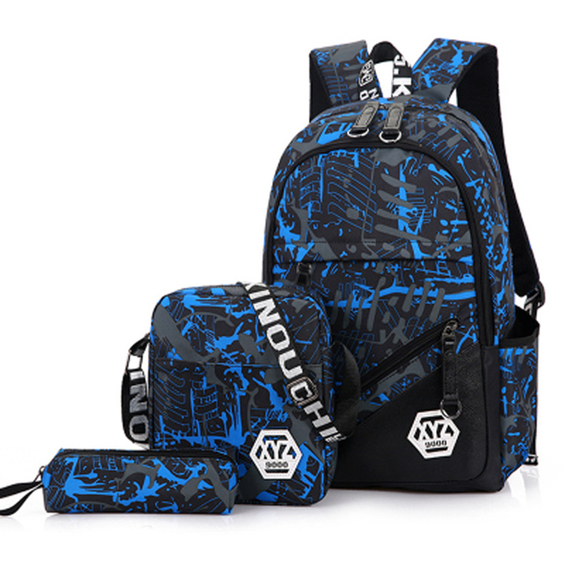 3 Pcs/sets 2018 Men Travel Laptop Backpacks Camouflage Printing School Bags Backpack Canvas Schoolbags For Teenage Boys Girls