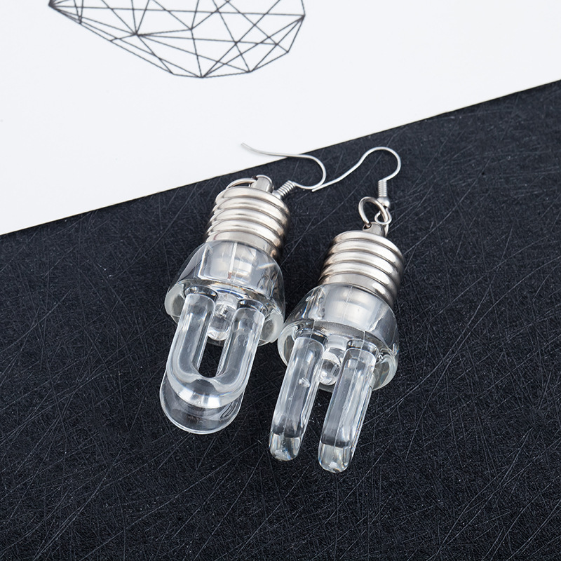 New Style Hot Fashion Design Transparent Bulbs Tubes Drop Earrings Personalized Cololul Lighting Earrings for Women Punk Brincos 2