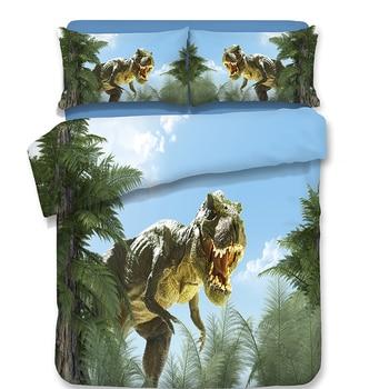 boys dinosaur bedding set 3pcs 3d bed linens Single Double Queen Super King size fashion duvet cover set  children good quality