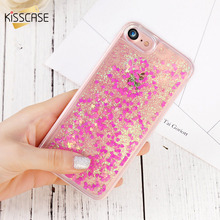 KISSCASE Case For iPhone 5 Glitter Quicksand Cover For iPhone 4 4s 5s SE 6 Cases Love Heart Hard Protective Phone Covers Fundas shimmering powder protective abs plastic case for iphone 4 4s black silver