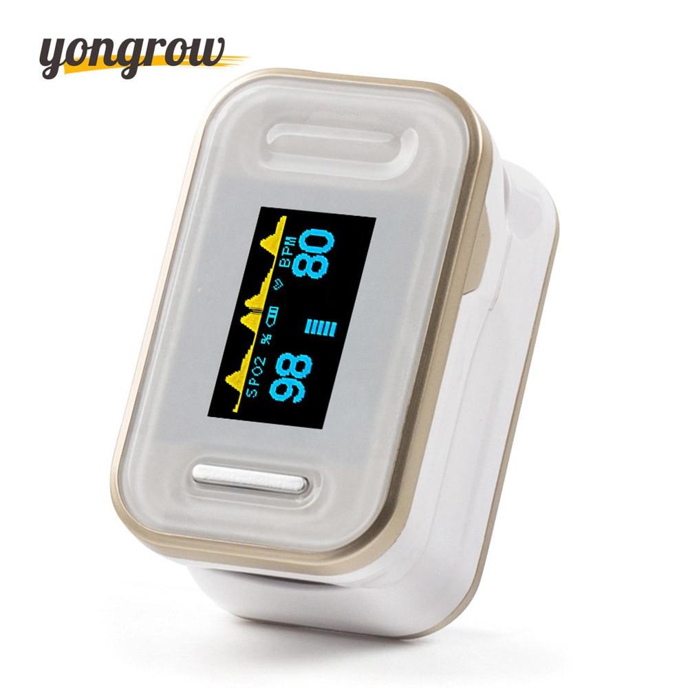 Yongrow Oximetro Pulse Oximeter De Pulso De Dedo Fingertip Pulse Oximeter Golden Color Pulsioximetro Oled Heart Rate Monitor oled pulse finger fingertip oximeter blood spo2 pr heart rate monitor
