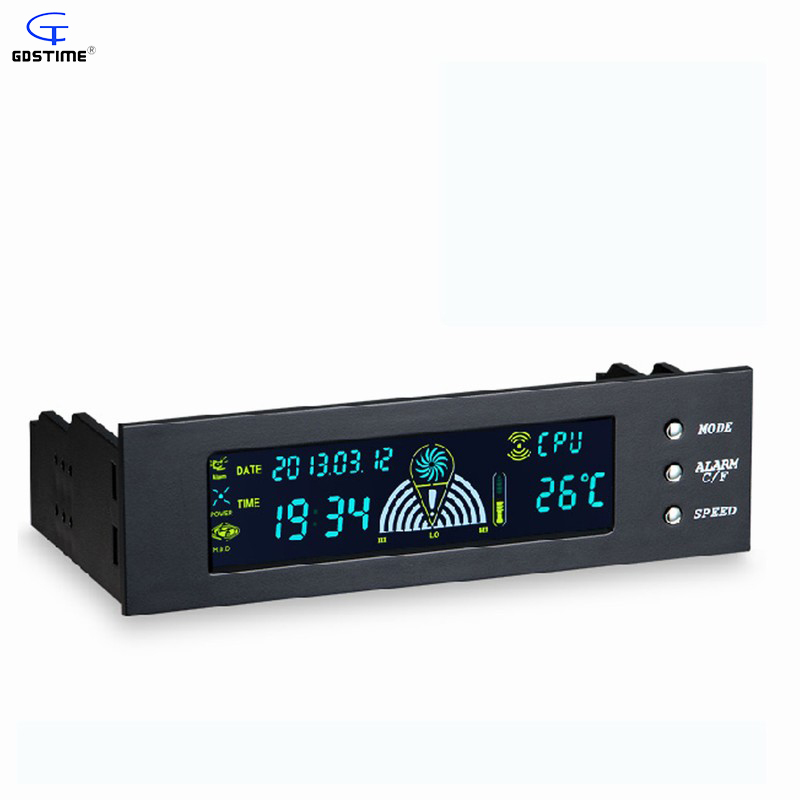 Gdstim 5.25 Drive Bay PC Computer CPU Cooling LCD Front Panel Temperature Controller 3-Channel Fan Speed Control for Desktop personal computer graphics cards fan cooler replacements fit for pc graphics cards cooling fan 12v 0 1a graphic fan