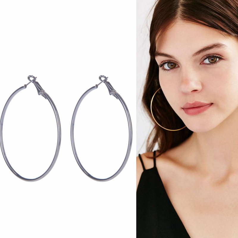 Woman Plated Silver Gold Hoop Earrings Circle 20 70 Mm Lightweight Simple Hoops Minimalist Delicate Earrin Jewelry In From