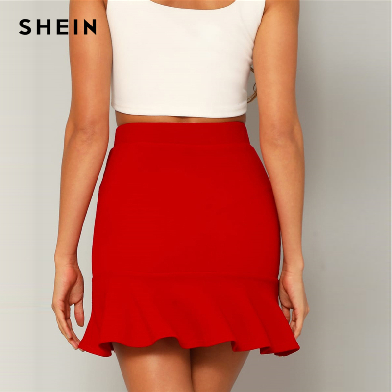 SHEIN Red Bright Flounce Ruffle Hem Solid Above Knee Skirt Womens 2019 Summer High Waist High Street Sheath Mini Skirt 2