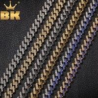 BLING KING Fashion Iced Prong кубинская звеньевая цепь ожерелья 15 мм Mutil-color синий/черный Стразы ювелирные изделия Хип-хоп мужские