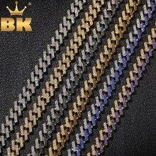 Các Bling Vua Thời Trang Đá Phổ Cuba Liên Kết Chuỗi Dây Chuyền 15 Mm Áo Ngực Mutil Màu Xanh Dương/Đen Phối Ren Hiphop bộ Trang Sức Nam