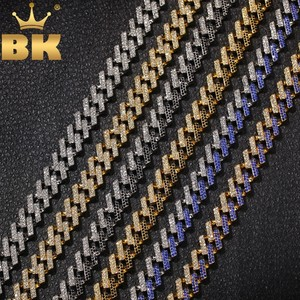 THE BLING KING Fashion Iced Prong Cuban Link Chains Necklaces 15mm Mutil-Colored Blue/Black Rhinestones Hiphop Jewelry Mens