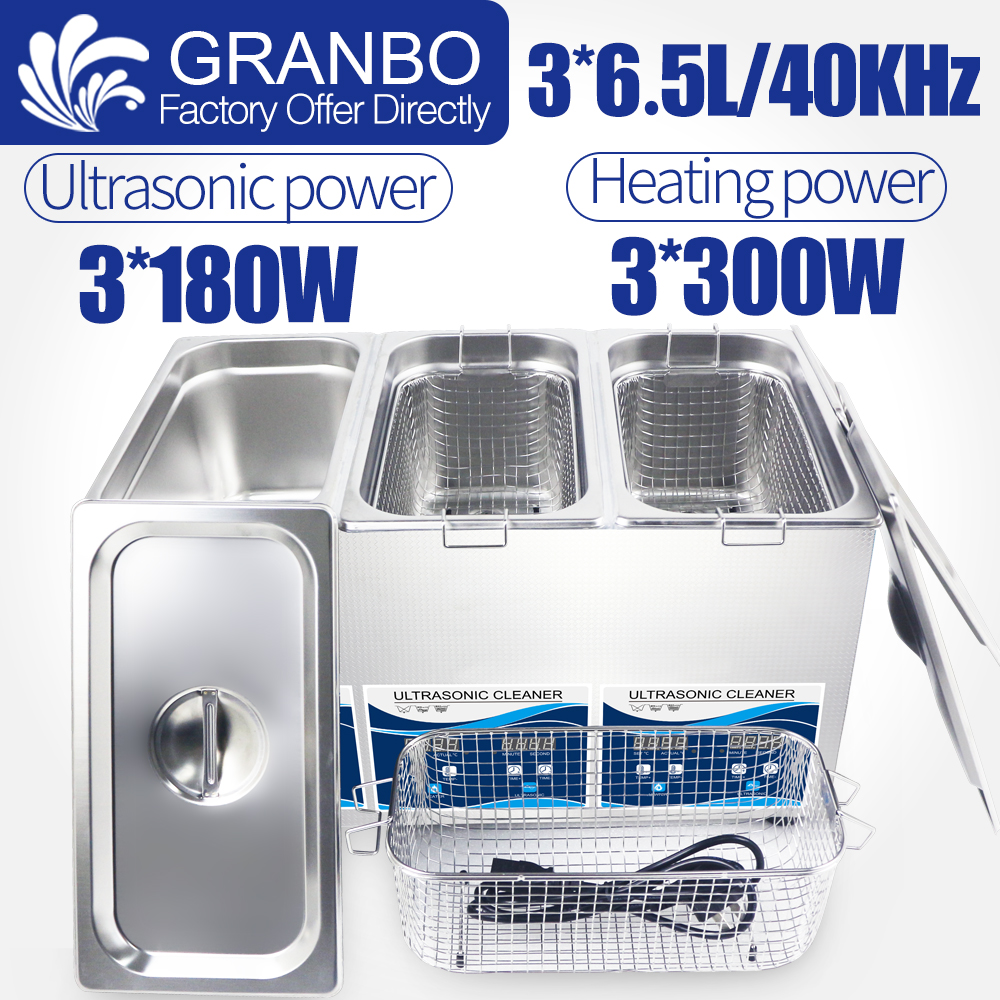 Triple Bath 6.5L Customized Ultrasonic Cleaner 3x180w Power 40KHZ Digital Heater Control Upgrade Mulit-Cleaning Solutions