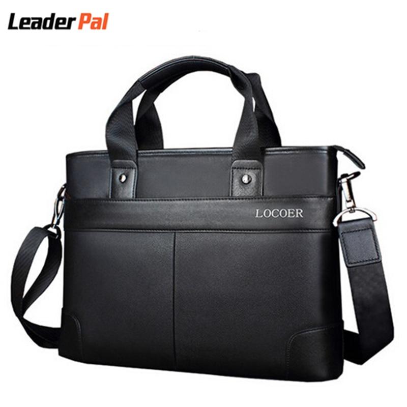 ФОТО Mens business briefcase PU Leather Messenger Bag 12 Inch Laptop Bags Men Women Computer Notebook Shoulder Bag 14 Inch Laptop Bag