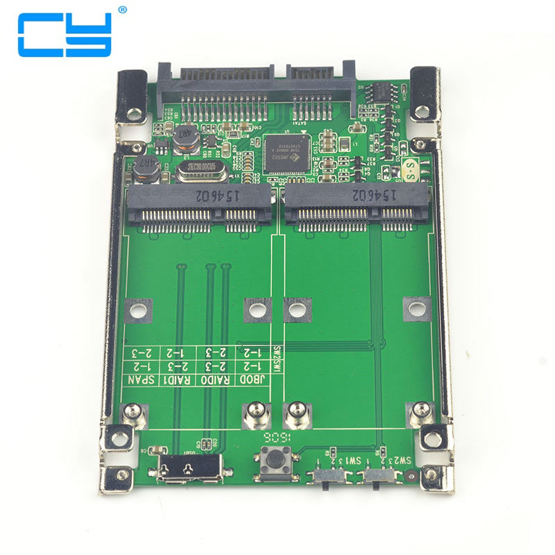 2.5 Dual Mini pcie PCI-E pci express pci-express mSATA RAID SSD Adapter to SATA Raid 22pin & USB 3.0 Hardware RAID card