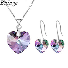 цены 2017 Original Crystals From Austrian XILION Heart Pendant Necklaces Earrings Jewelry Sets For Women Girls Women's Day