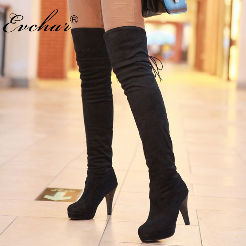 New Boots Thigh High Boots Over-The-Knee Boots Pointed Toe Platform Thick High Heels Boot Ladies Lace-Up Solid Shoes size 34-39 annymoli platform high heels lace up wedge shoes ladies pumps pointed toe lace up increasing heels shoes black white size 34 39