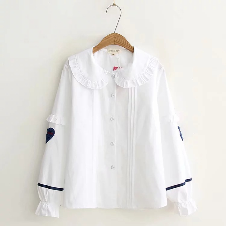 Women's Clothing Kyqiao Women White Shirt 2019 Female Autumn Spring Japanese Style Peter Pan Collar Fresh Long Sleeve Solid Blouse Tops Blusa To Win A High Admiration