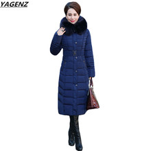 2017 Winter Coat Women Down Cotton Jacket Slim Long Outwear Parkas Hooded Warm Fashion High Quality Women Basic Coats YAGENZ 635