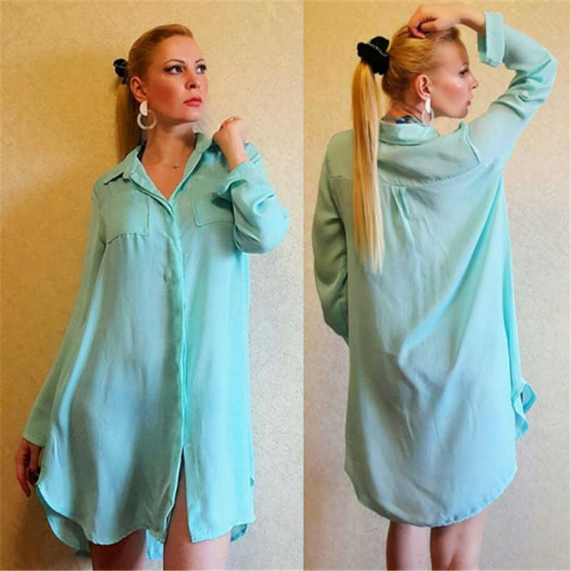 93d4c6448e ... Plain Black Solid Button Front Open Pocket Blue Shirt Dress Long Sleeve Beach  Tunic Women Beachwear ...