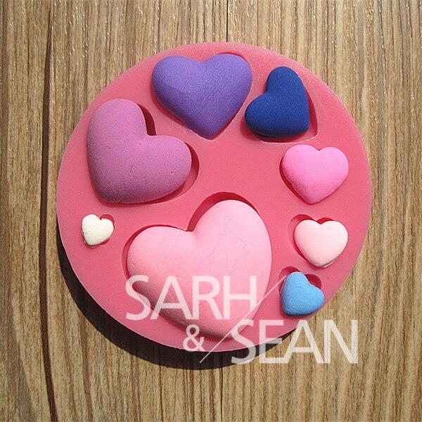 3D M0120 corazón amor silicona fondant pastel moldes jabón - Cocina, comedor y bar