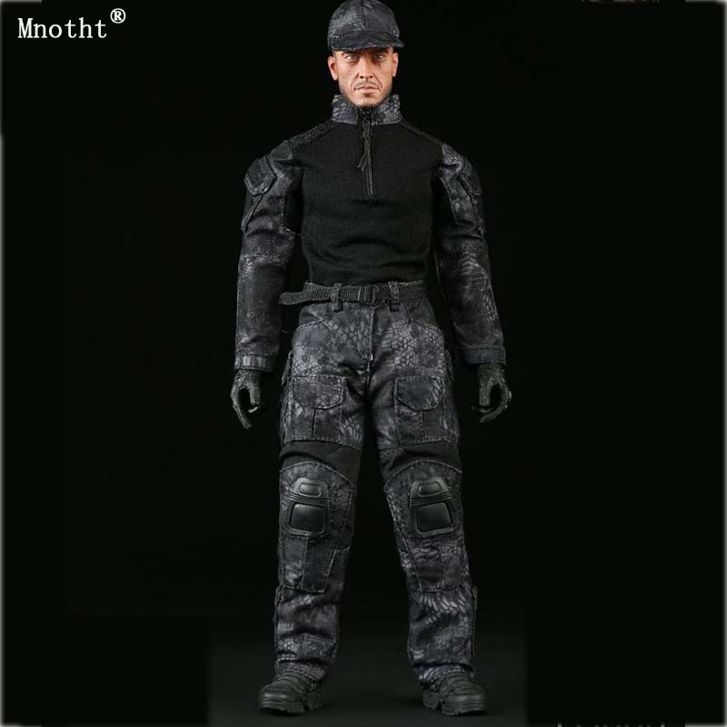Mnotht 1/6 Scale Black Clothing Suit Model FG006 Male Black Python Camouflage For 12'' Soldier Action Figure Accessory 1 6 scale camouflage suit fg015 desert