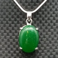 Fashion Jewelry  White Gold Plated Green Jade Pendants Necklaces For Women