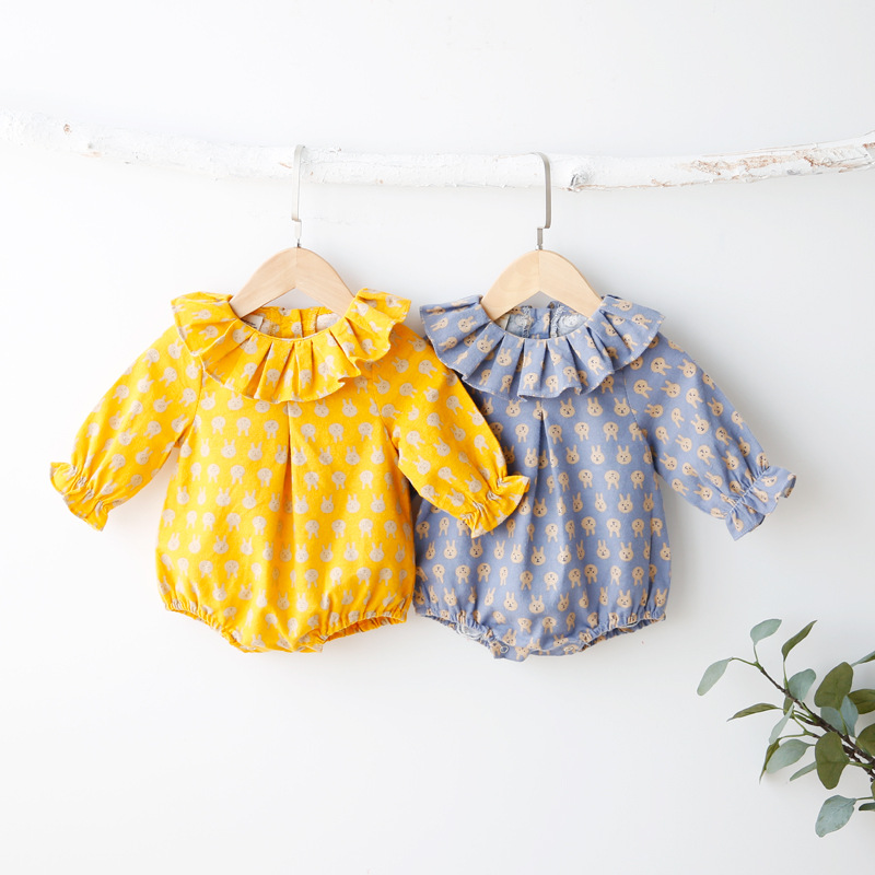 Newborn Clothes Baby Long Sleeve Cartoon Rompers Toddler Boys And Girls Doll Collar Small Rabbit Pattern Printing Jumpsuit cotton baby rompers set newborn clothes baby clothing boys girls cartoon jumpsuits long sleeve overalls coveralls autumn winter