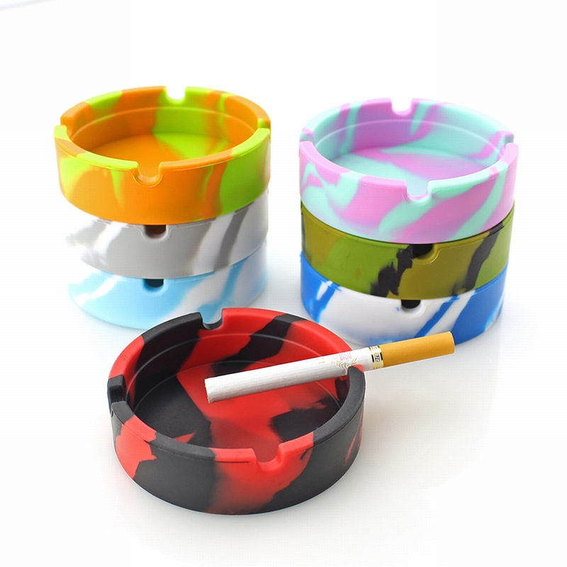 Image 2 - Silicone Soft Round Ashtray Ash Tray Holder PLuminous Portable Anti scalding Cigarette Holder Multicolor Eco Friendly-in Ashtrays from Home & Garden