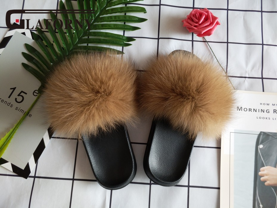 Apparel Accessories Sporting Fashion Women Fur Slippers Luxury Real Fox Fur Beach Sandal Shoes Fluffy Comfy Furry Flip Flops 32 Colors More Customed