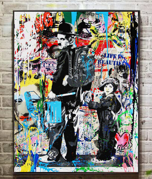 Modern famous artist urban art charlie chaplin canvas painting wall decoration wall art picture print on