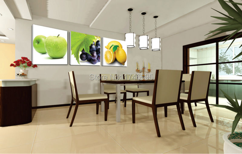Big Size 3pcs Modern Decor Restaurant Dining Room Wall Art Apple Grape Lemon