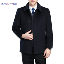 Mu Yuan Yang 2020 Winter männer Kaschmir Mantel Und Jacken Einreiher Herren Woll Mäntel drehen unten Kragen männer Wolle Mäntel