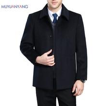 Mu yuan yang 2020 casaco e jaquetas de cashmere masculino de inverno único breasted dos homens casacos de lã turn down colarinho
