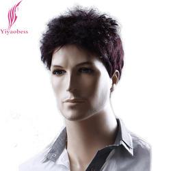Yiyaobess 6 дюймов Свет Рыжий пышные короткие Для мужчин волосы жаропрочных синтетических Для мужчин S парик Бесплатная доставка