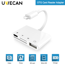 4 in 1 SD TF Card Camera Connection Kits for Lightning to USB Camera Reader adapter OTG Cable for iphone X 8 8pls 7 for ipad Air new 3 in 1 card reader usb camera connection hub for u disk sd tf for ipad mini 4 5 air usb hub card reader