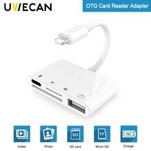 Kits de conexión 4 en 1 SD tarjeta TF de cámara para Lightning a USB Cámara lector adaptador OTG Cable para iphone X 8 8pls 7 para ipad Air
