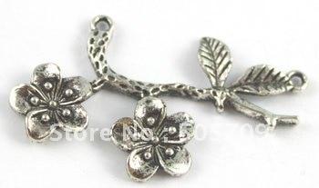 90 шт тибетский серебряный сливовый коннектор-соединитель цветок A15418