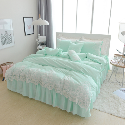 Bedclothes Princess wind bed skirt four pieces set lace pure cotton bedding