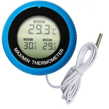 Reptile electronic thermometer, aquarium digital thermometer, round suction cup digital thermometer compact size thermocouple thermometer low cost thermometer dual inputs thermometer center 308