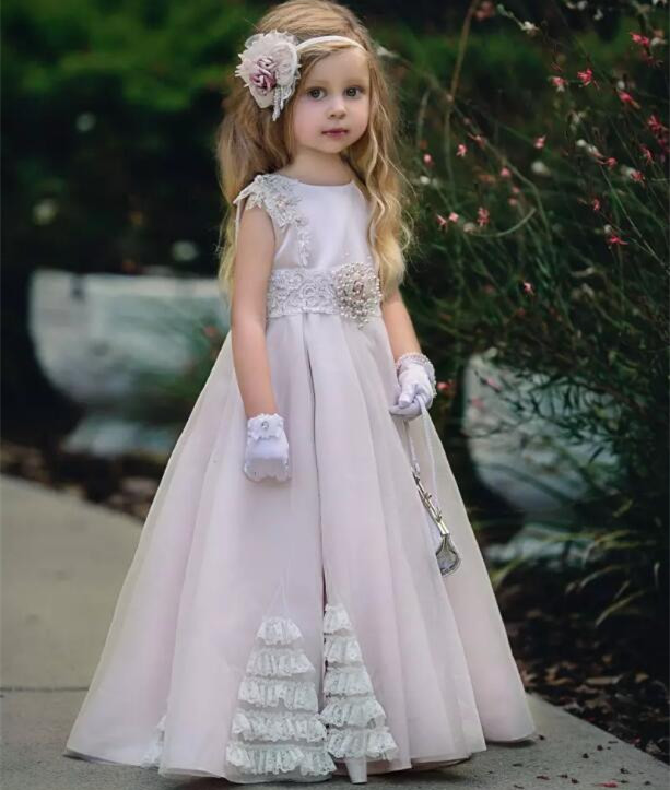 Bohemian New Blush Flower Girl Dresses For Weddings A Line Appliques Kids Pageant Gowns Floor Length Communion Dress Custom Made beautiful pink floral appliques pleated flower girl dress sheer long sleeves floor length kids communion dresses 2 12 year old