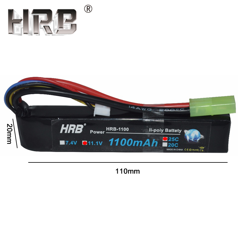 Image 5 - HRB Water Gun Lipo Battery 3S 2S 7.4V 11.1V 1100mAh 25C Tamiya Connector AKKU Mini Airsoft BB Air Pistol Electric Toys RC Parts-in Parts & Accessories from Toys & Hobbies
