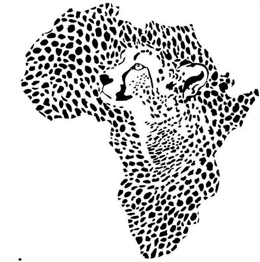 African Leopard Map Wall Sticker Wild African Animal