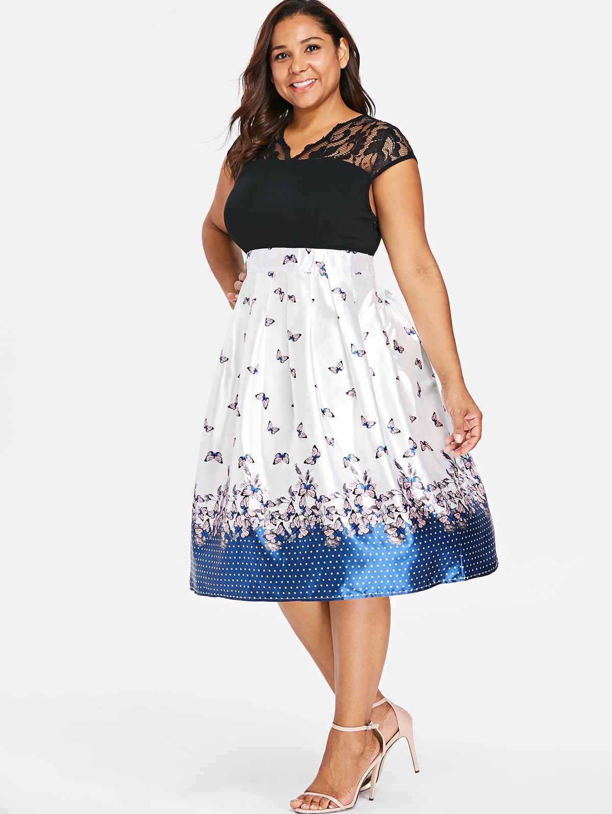 Wisalo/винтажное платье с кружевной отделкой и расклешенным подолом, с принтом бабочки, длиной до колена, ТРАПЕЦИЕВИДНОЕ ПЛАТЬЕ для женщин, весна-лето, ретро, Vestidos