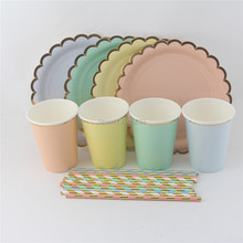 Free Shipping 730pcs/lot Christmas Decoration Foil Gold Party Tableware Set Paper Plates Cups Straws for
