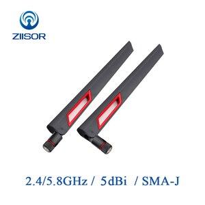 Image 1 - 2 adet yönlendirici anten Wifi 2.4GHz Omni 5.8GHz anten Dual Band yüksek kazanç anten sinyal amplifikatörü WLAN SMA erkek hava Z11 BWFSJ
