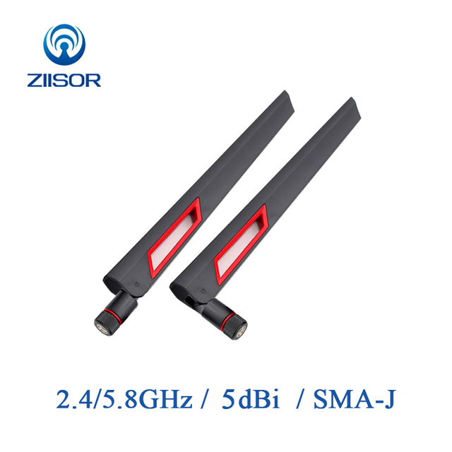 2pcs Router Antenna Wifi 2.4GHz Omni 5.8GHz Antenna Dual Band High Gain Antena Signal Amplifier WLAN SMA Male Aerial Z11 BWFSJ