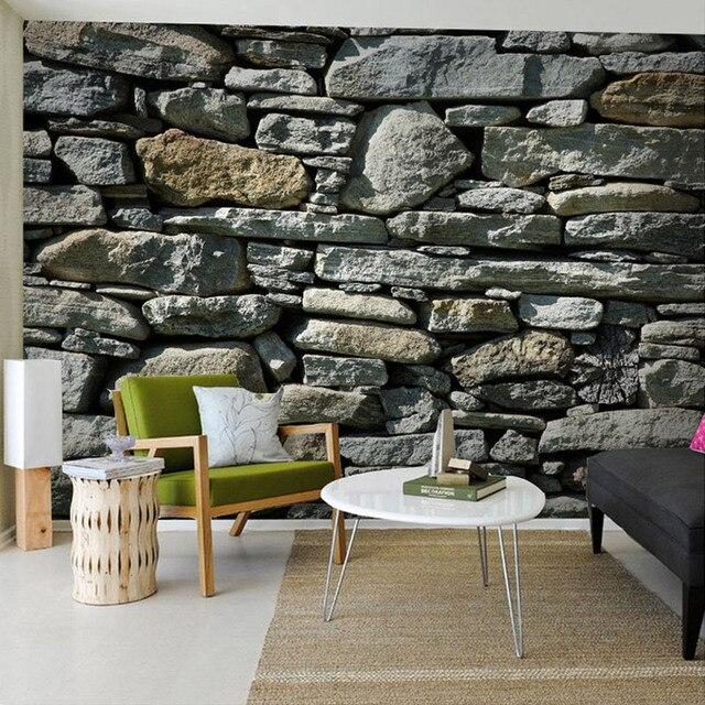 Custom Photo Stone Brick Wall Wallpaper Country Style Mural Elders Room Embossed Paper