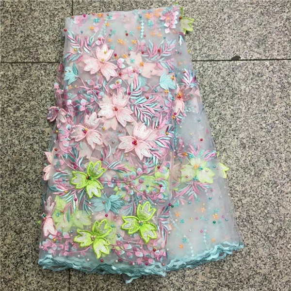 New Design High Quality African 3D Fabric Flowers Pink Nigerian Guipure Lace Fabrics For Women Latest 2018 African lace fabric